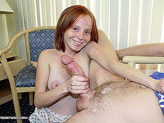 Alyssa Hart stroking hard to milk monster cock of Mr. Johnson